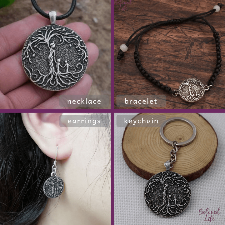 Beloved Life Jewelry: Mom & 2 Child 'Tree of Life' Ultimate BUNDLE: Necklace + Bracelet + Earrings + Keychain [Silver]