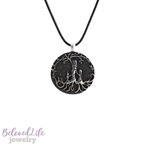 Beloved Life Jewelry: Mom & 2 Mixed Age Children 'Tree of Life' Pendant Necklace [Silver]