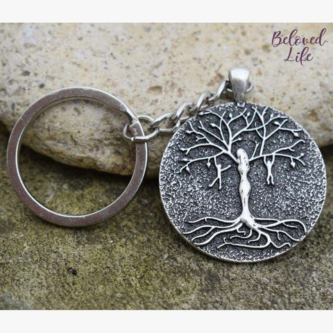 Beloved Life Jewelry: Mom & 2 Playful Children 'Tree of Life' Pendant Keychain [Silver]