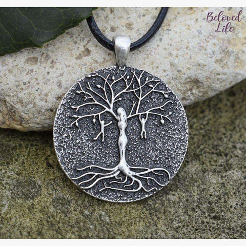 Beloved Life Jewelry: Mom & 2 Playful Children 'Tree of Life' Pendant Necklace [Silver]