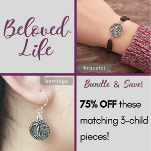 Beloved Life Jewelry: Mom & 3 Child Matching Bracelet & Earrings (2-Piece Bundle)