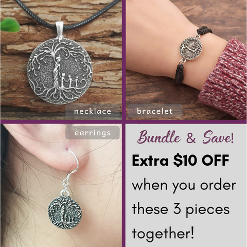 Beloved Life Jewelry: Mom & 3 Child 'Tree of Life' 3-Piece BUNDLE: Necklace + Bracelet + Earrings [Silver]
