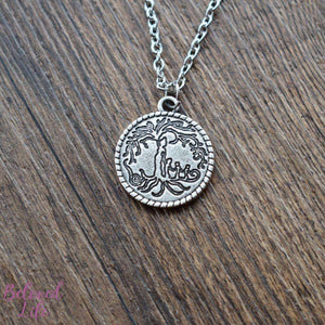 Beloved Life Jewelry: Mom & 3 Child 'Tree of Life' Coin Pendant Necklace [Antique Silver]