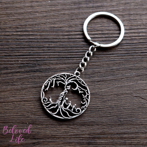 Beloved Life Jewelry: Mom & 3 Child 'Tree of Life' Hollowed-Out Pendant Keychain [Antique Silver]