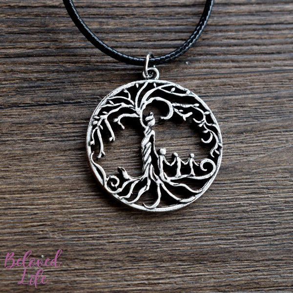 Beloved Life Jewelry: Mom & 3 Child 'Tree of Life' Hollowed-Out Pendant Necklace [Antique Silver]