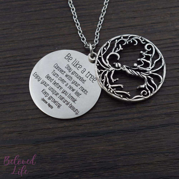 Beloved Life Jewelry: Mom + 3 Child 'Tree of Life' Hollowed-Out + Quote Pendant Necklace [Antique Silver]