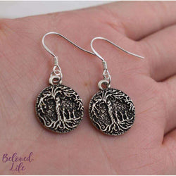 Beloved Life Jewelry: Mom & 3 Child 'Tree of Life' Pendant Earrings [Silver]