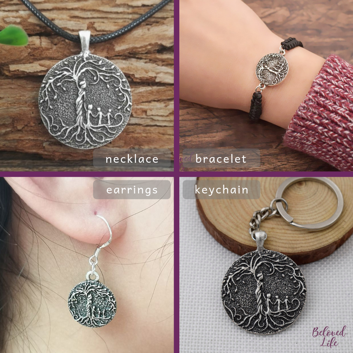 Beloved Life Jewelry: Mom & 3 Child 'Tree of Life' Ultimate BUNDLE: Necklace + Bracelet + Earrings + Keychain [Silver]