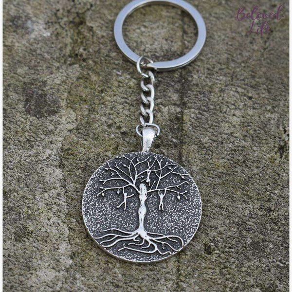 Beloved Life Jewelry: Mom & 3 Playful Children 'Tree of Life' Pendant Keychain [Silver]