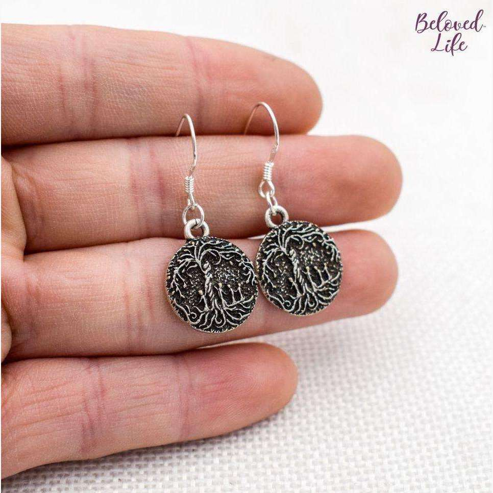 Beloved Life Jewelry: Mom & 4 Child 'Tree of Life' Pendant Earrings [Silver]