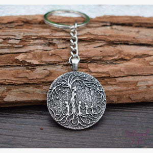 Beloved Life Jewelry: Mom & 4 Child 'Tree of Life' Pendant Keychain [Silver]