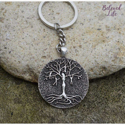 Beloved Life Jewelry: Mom & 4 Playful Children 'Tree of Life' Pendant Keychain [Silver]