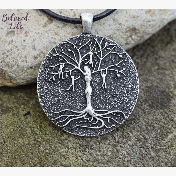 Beloved Life Jewelry: Mom & 4 Playful Children 'Tree of Life' Pendant Necklace [Silver]