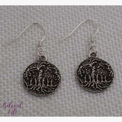 Beloved Life Jewelry: Mom & 5 Child 'Tree of Life' Pendant Earrings [Silver]