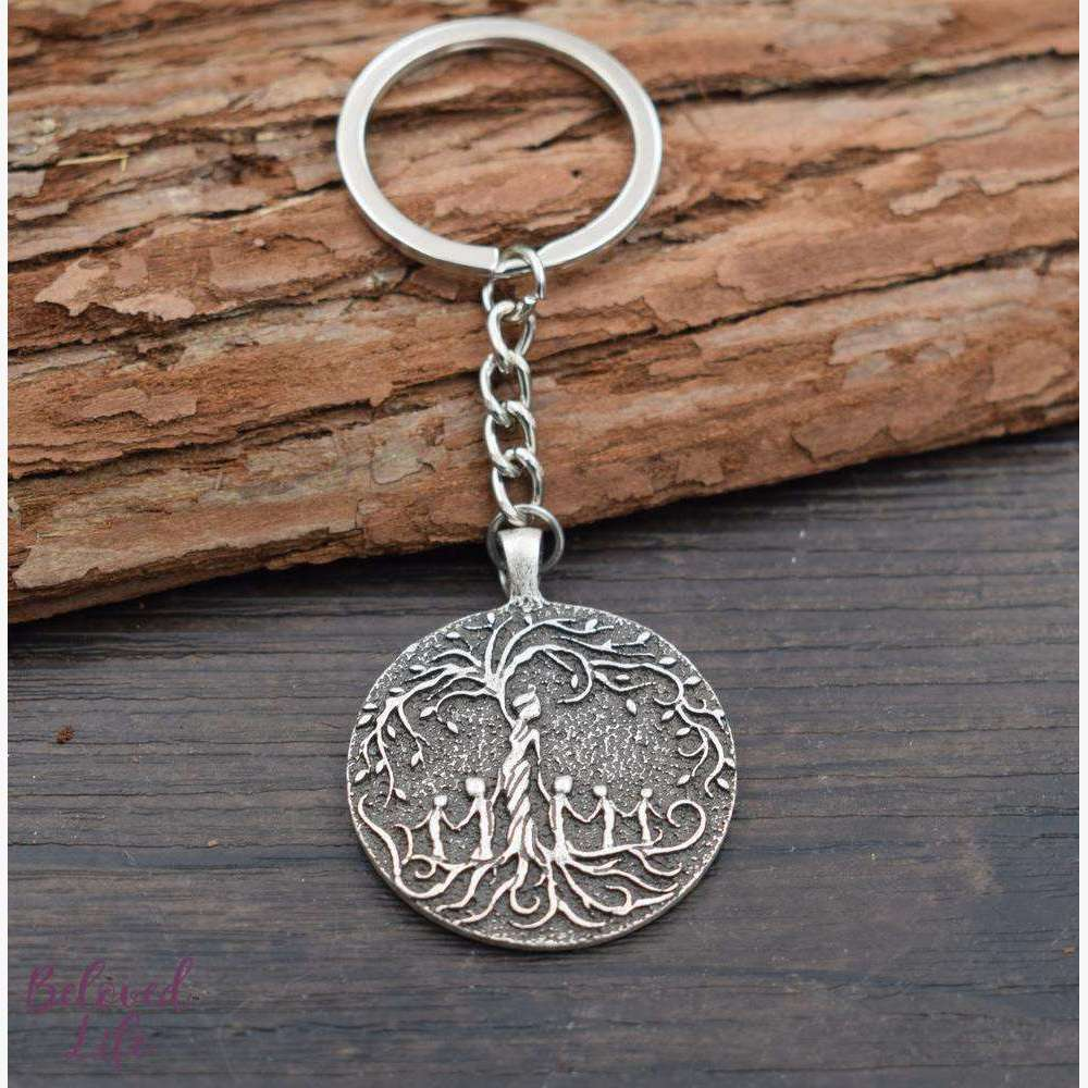 Beloved Life Jewelry: Mom & 5 Child 'Tree of Life' Pendant Keychain [Silver]