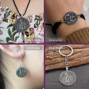 Beloved Life Jewelry: Mom & 5 Child 'Tree of Life' Ultimate BUNDLE: Necklace + Bracelet + Earrings + Keychain [Silver]