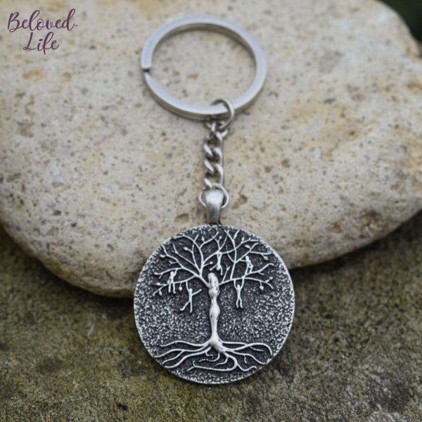 Beloved Life Jewelry: Mom & 5 Playful Children 'Tree of Life' Pendant Keychain [Silver]