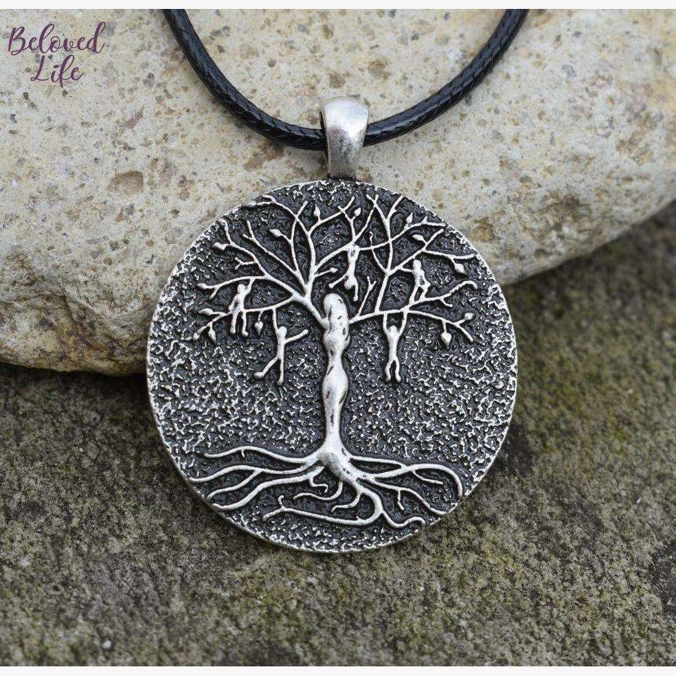 Beloved Life Jewelry: Mom & 5 Playful Children 'Tree of Life' Pendant Necklace [Silver]