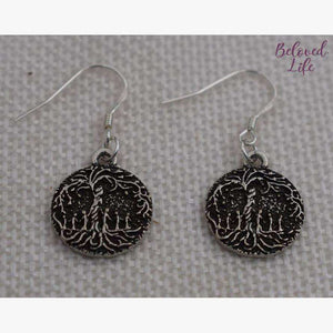 Beloved Life Jewelry: Mom & 6 Child 'Tree of Life' Pendant Earrings [Silver]