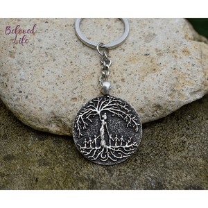 Beloved Life Jewelry: Mom & 6 Child 'Tree of Life' Pendant Keychain [Silver]