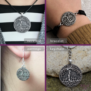 Beloved Life Jewelry: Mom & 6 Child 'Tree of Life' Ultimate BUNDLE: Necklace + Bracelet + Earrings + Keychain [Silver]