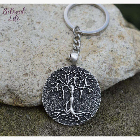 Beloved Life Jewelry: Mom & 6 Playful Children 'Tree of Life' Pendant Keychain [Silver]