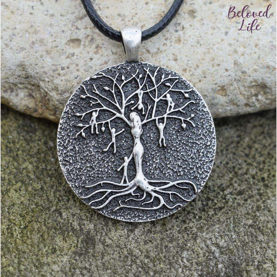 Beloved Life Jewelry: Mom & 6 Playful Children 'Tree of Life' Pendant Necklace [Silver]