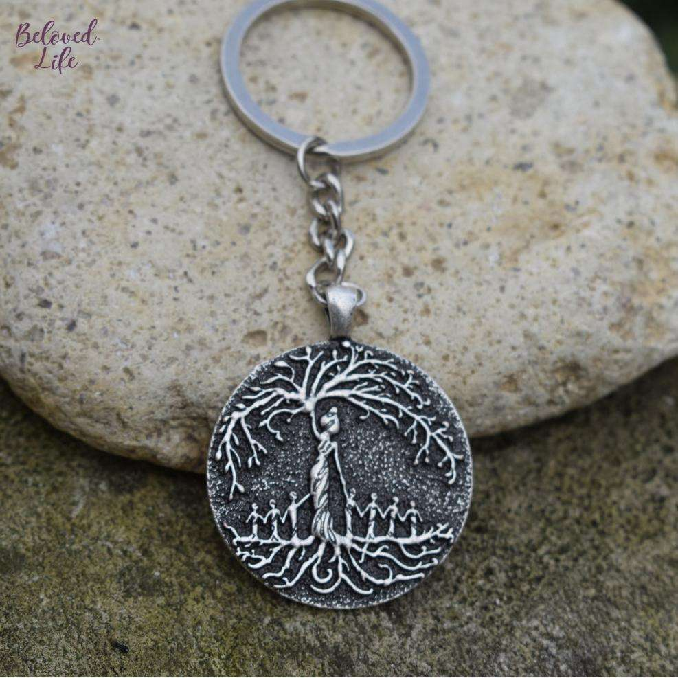 Beloved Life Jewelry: Mom & 7 Child 'Tree of Life' Pendant Keychain [Silver]