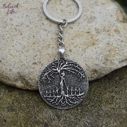 Beloved Life Jewelry: Mom & 8 Child 'Tree of Life' Pendant Keychain [Silver]