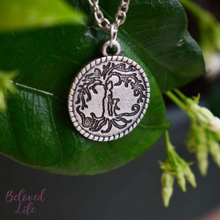 Beloved Life Jewelry: Mom & Daughter 'Tree of Life' Coin Pendant Necklace [Antique Silver]