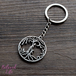 Beloved Life Jewelry: Mom & Daughter 'Tree of Life' Hollowed-Out Pendant Keychain [Antique Silver]