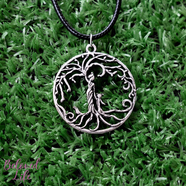 Beloved Life Jewelry: Mom & Daughter 'Tree of Life' Hollowed-Out Pendant Necklace [Antique Silver]