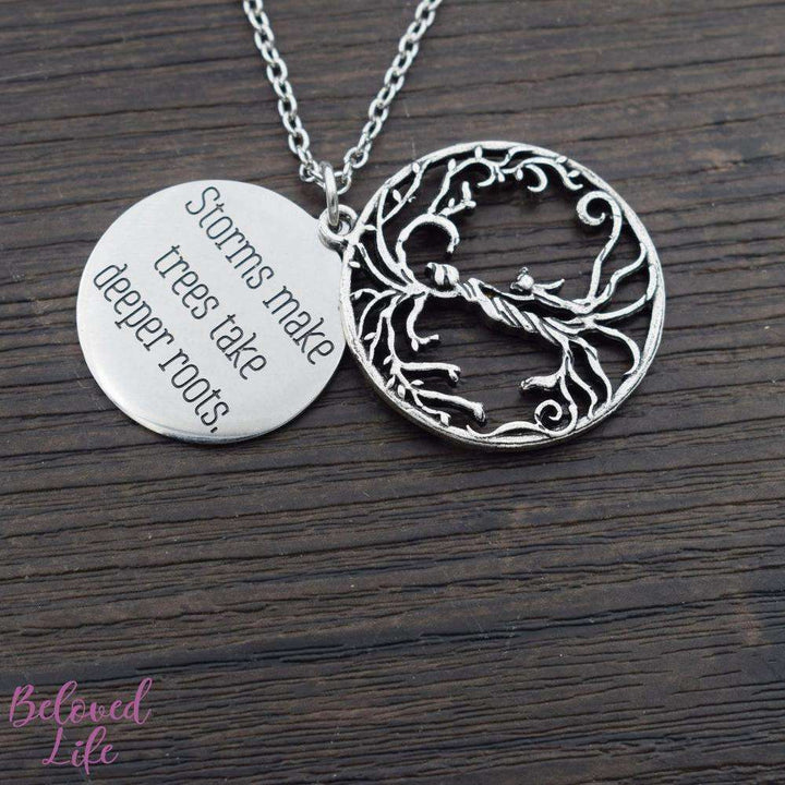 Beloved Life Jewelry: Mom + Daughter 'Tree of Life' Hollowed-Out + Quote Pendant Necklace [Antique Silver]