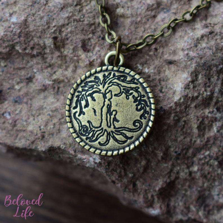 Beloved Life Jewelry: Mom & Son 'Tree of Life' Coin Pendant Necklace [Antique Bronze]