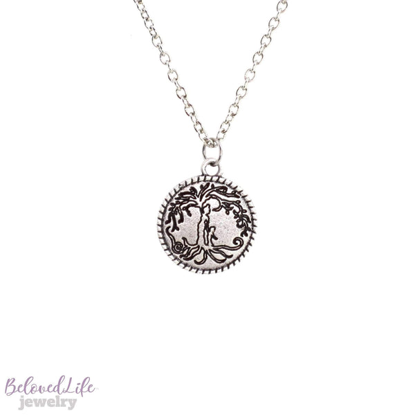 Beloved Life Jewelry: Mom & Son 'Tree of Life' Coin Pendant Necklace [Antique Silver]