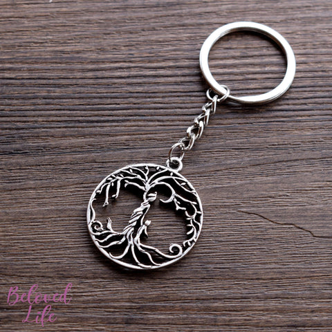 Beloved Life Jewelry: Mom & Son 'Tree of Life' Hollowed-Out Pendant Keychain [Antique Silver]