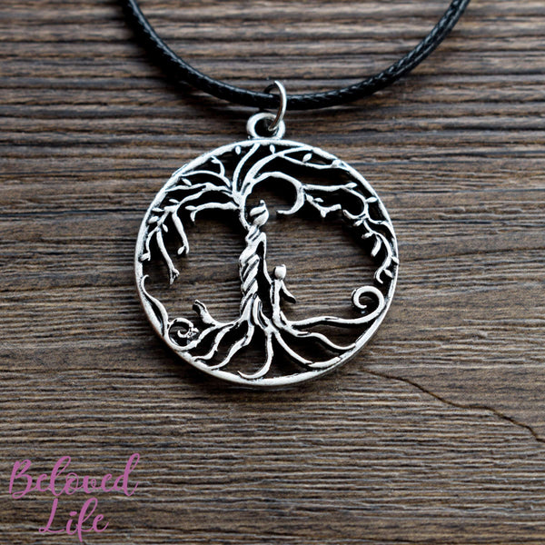 Beloved Life Jewelry: Mom & Son 'Tree of Life' Hollowed-Out Pendant Necklace [Antique Silver]