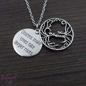 Beloved Life Jewelry: Mom + Son 'Tree of Life' Hollowed-Out + Quote Pendant Necklace [Antique Silver]