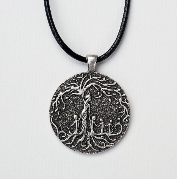 Mom & 4 Child 'Tree of Life' Pendant Necklace [Silver]