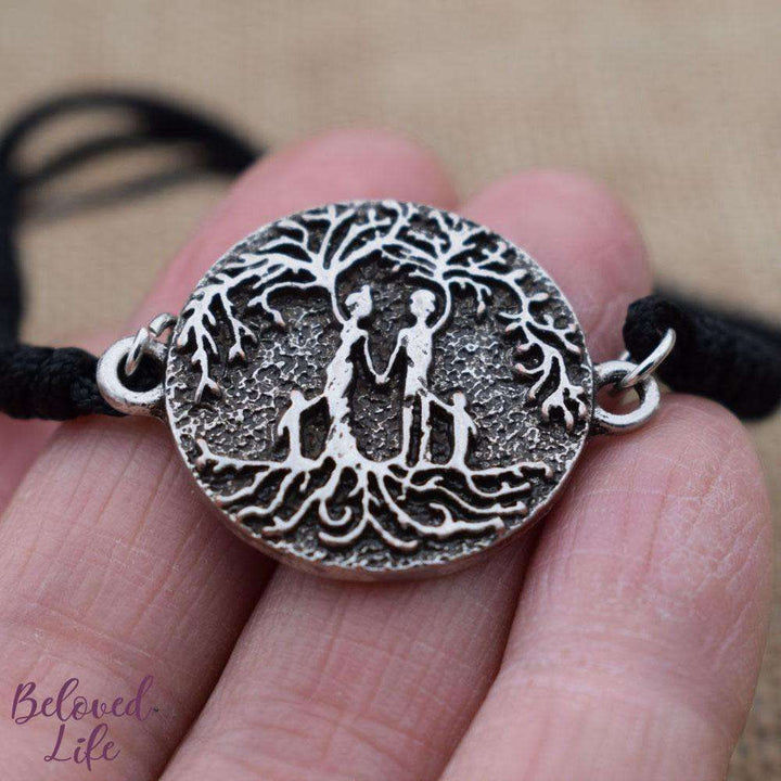 Beloved Life Jewelry: Parents & 2 Child 'Tree of Life' Pendant Bracelet [Silver]