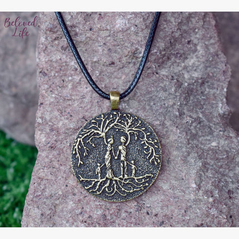 Beloved Life Jewelry: Parents & 2 Child 'Tree of Life' Pendant Necklace [Bronze]
