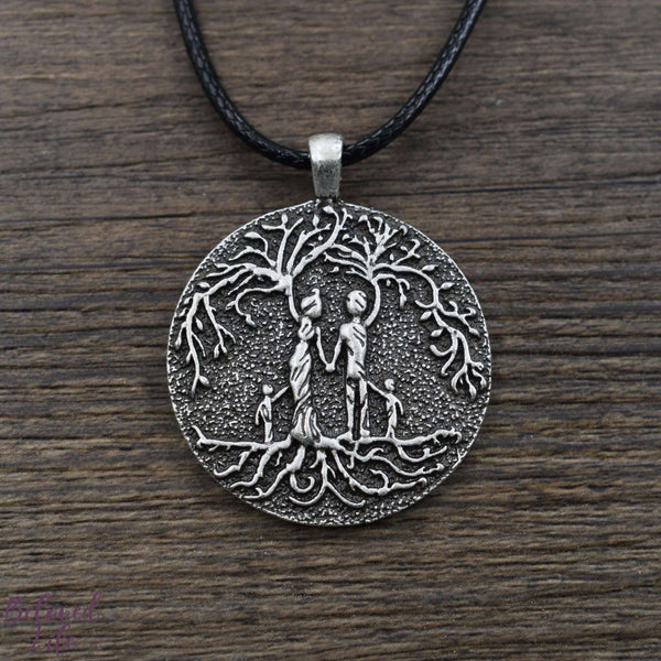 Beloved Life Jewelry: Parents & 2 Child 'Tree of Life' Pendant Necklace [Silver]