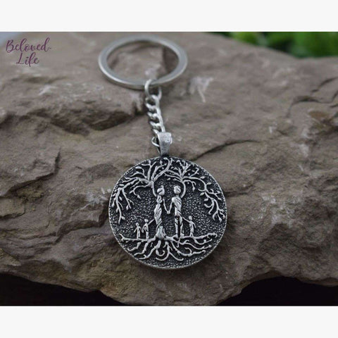 Beloved Life Jewelry: Parents & 3 Child 'Tree of Life' Pendant Keychain [Silver]