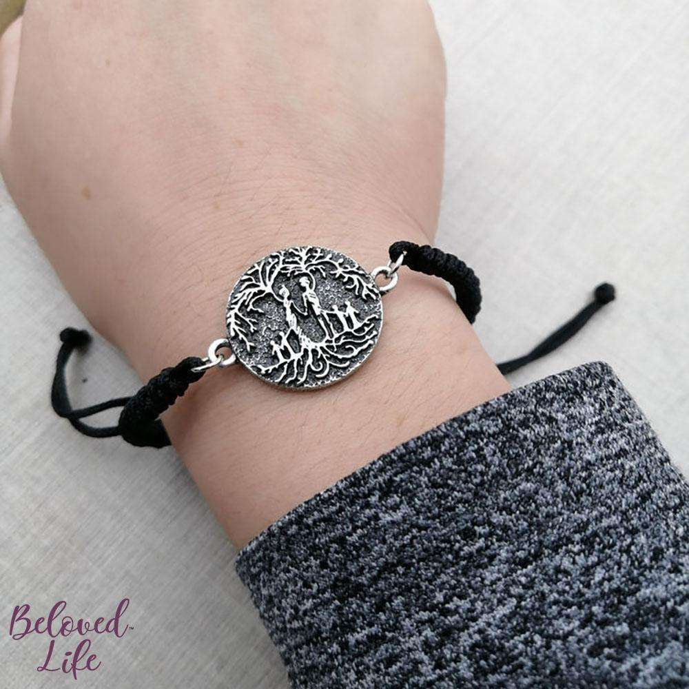 Beloved Life Jewelry: Parents & 4 Child 'Tree of Life' Pendant Bracelet [Silver]