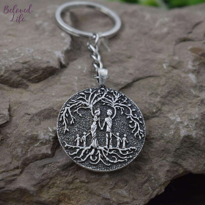 Beloved Life Jewelry: Parents & 4 Child 'Tree of Life' Pendant Keychain [Silver]