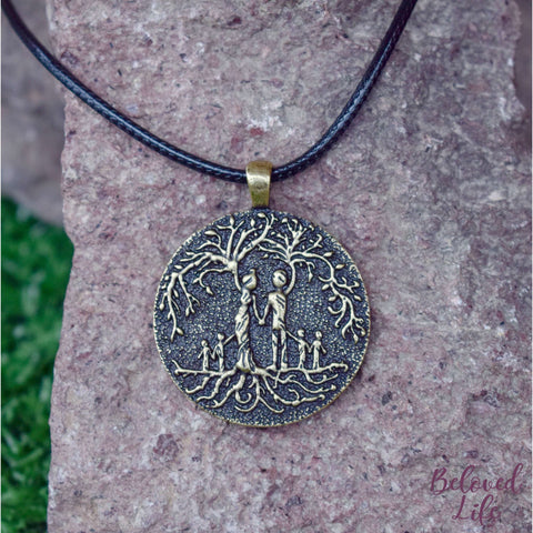 Beloved Life Jewelry: Parents & 4 Child 'Tree of Life' Pendant Necklace [Bronze]