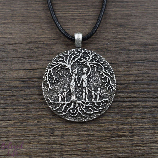 Beloved Life Jewelry: Parents & 4 Child 'Tree of Life' Pendant Necklace [Silver]