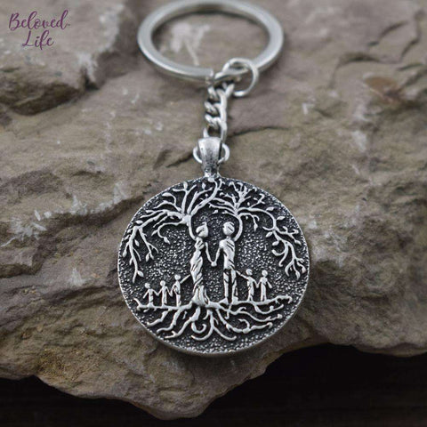 Beloved Life Jewelry: Parents & 5 Child 'Tree of Life' Pendant Keychain [Silver]