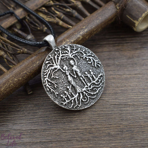 Beloved Life Jewelry: Parents & 5 Child 'Tree of Life' Pendant Necklace [Silver]