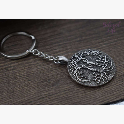 Beloved Life Jewelry: Parents & 6 Child 'Tree of Life' Pendant Keychain [Silver]